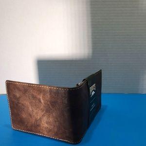 Roots dark brown leather wallet